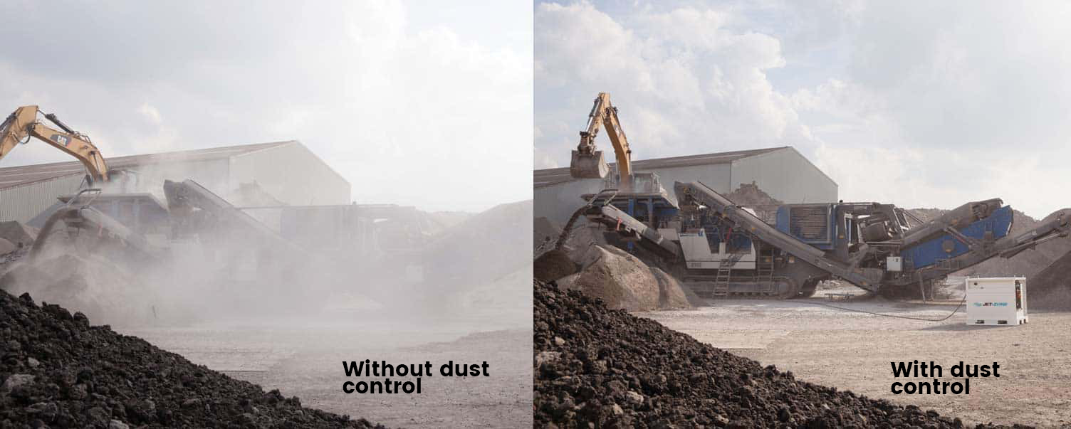 Dust Control system before and after